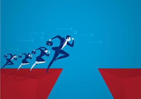 illustrateur Homme d'affaires sautant par-dessus un gouffre. Concept de réussite commerciale
