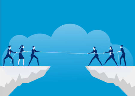 Conflict concept. Businessmen pulling rope over precipice. Business rivalry and competition on blue background