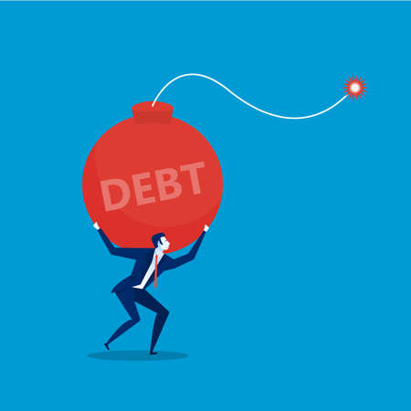 businessman with carrying debt bomb. flat illustration