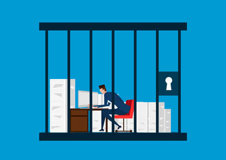businessman working in the prison. illustrator