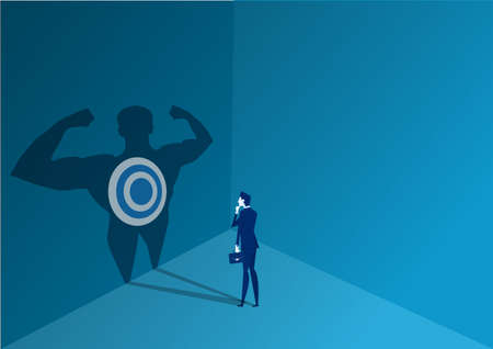 Shadow of strong Businessman for goal . illustration flat design Ilustrace