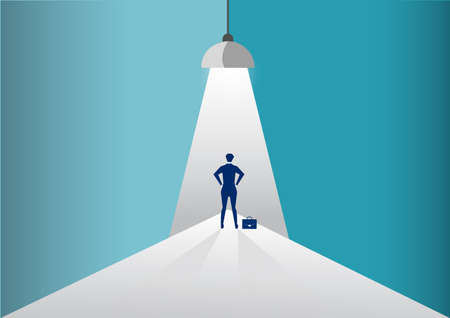 Businessman standing in spotlight or searchlight looking for new career opportunities. illustration. Note to editor:Indexing language: