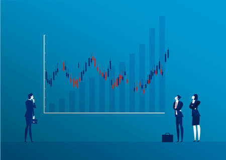 Businessman back view standing looking at candle stick graph stock market illustration