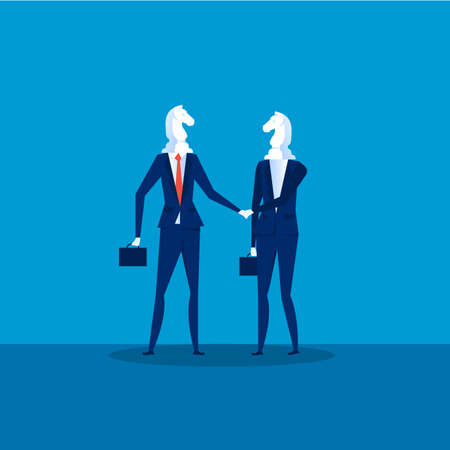 Business cooperation Vector. Two Businessmen Chess Horses Black shaking hand for join business to successful . Illustration
