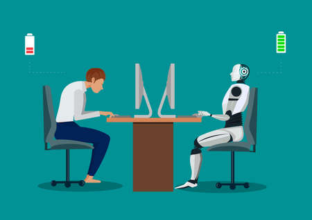 Robot vs man. Human humanoid robot work with laptops at desk. Stock Illustratie