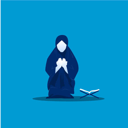 muslim woman prayer on blue background