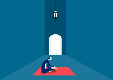 man side down reading al quran in mosque on ramadan night illustrator. Ilustrace