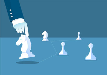 business leader concept Hand of player chess board game illustrator