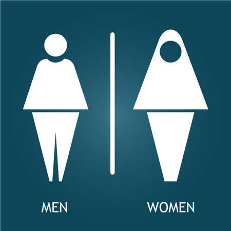Muslim Restroom male and female sign illustration