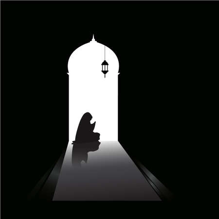 female muslim praying in mosque on black background