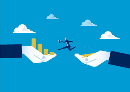 Businessman jumping over chasm between coin growth on hand . Business concept. Vector illustrationBusinessman jumping over chasm between coin growth on hand . Business concept. Vector illustration