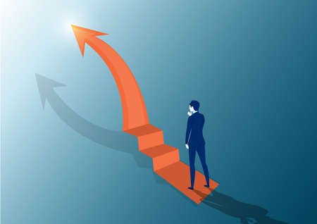 Businessman looking the stairs. On top at the peak of success. Looks at the top arrow. Vector flat design. Business challenge search way to success goal. Ilustrace