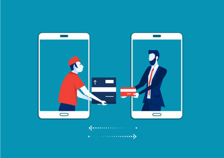 man from smartphone screen sending cardboard box with customer pay shop by card ,Delivery service concept. illustration flat design. Shipping service.