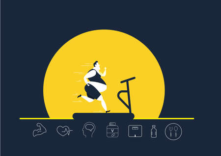 fat obese man running on treadmill oversize fat guy weight loss with heath icon on yellow background illustrator Illustration