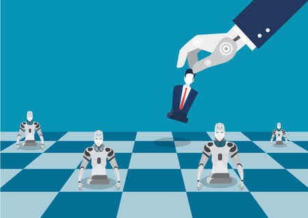 robot hand play chess figure. Flat illustration of robot chess strategy instead businessman concept