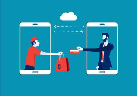 Shopping Online, People Shopping Using Smartphone, Shopping Bags, Internet Shopping and Delivery Illustration Ilustrace