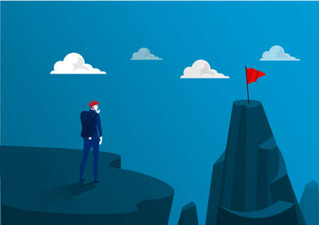 business standing on the top of the mountain adventure go to goal to red flag . illustrator