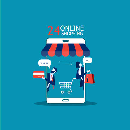 business promote shop store on Smartphone,Shopping Online concept illustrator Ilustrace