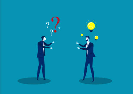 two businessmen share idea positive thinking and  question solution thinking  illustrator