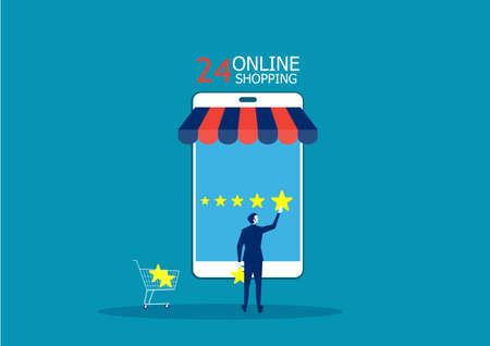 Businesswoman holding a gold star in hand, to give five. on shopping online