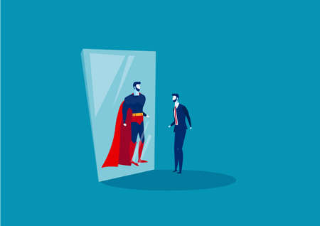 businessman looks in the mirror and sees a superhero. Confident power. Business leadership. on blue background vector illustrator Illustration