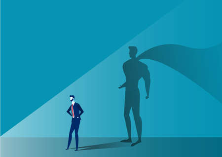 Business man with big shadow superhero on blue background Illustration