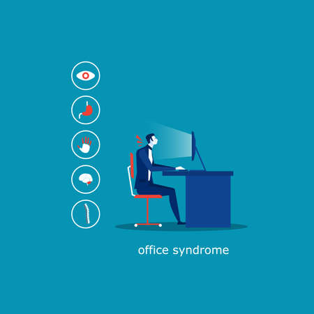 business man sit on chair office Syndrome infographic