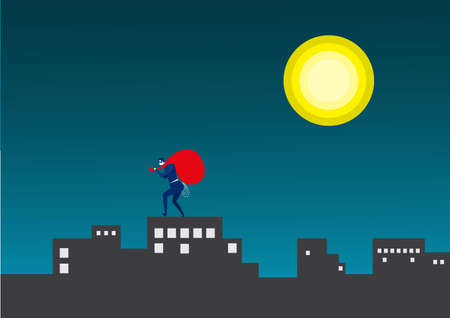 business man steal asset on city midnight background vector illustrator