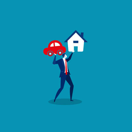 businessman holding loan house and car. vector