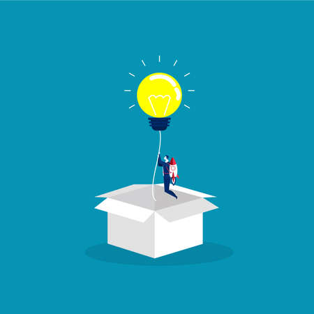 businessman start up with Light idea bulb ejected from cardboard box. Concept of startup, creative idea, leadership, business success or inspiration. Vector illustration