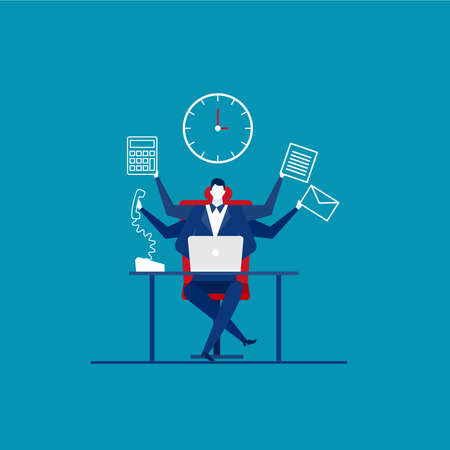 Busy time of businessman in hard working. A lot of work.vector