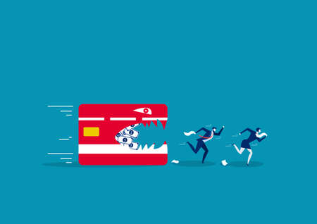 two business running away from credit card. Creative vector illustration on debt Ilustração