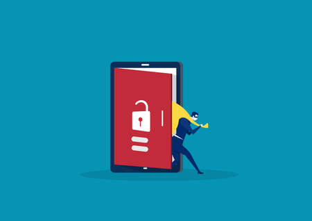 Hacker step out of smart phone screen after his criminal activity crack, spam, stealing money ,account password, personal data