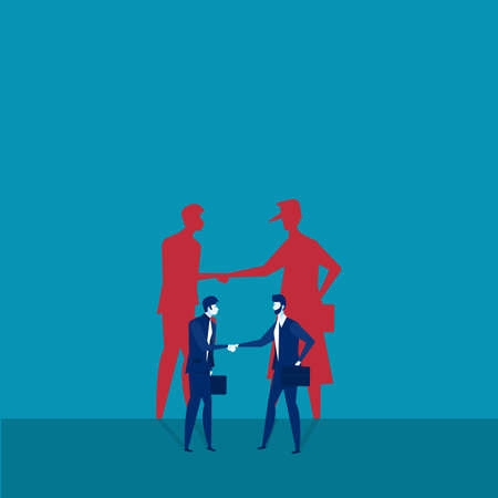 Two businessmen shaking hands with shadow crimes invest concept vector illustrator 일러스트