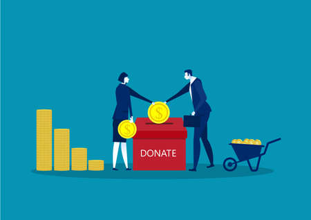 two business throws gold coin in a box for donations. Donate, giving money. Vector illustration, blue on background.