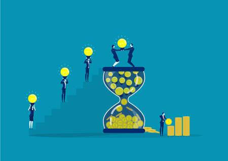 business teamwork putting light bulb into hourglass to make profit and money. concept Ilustração
