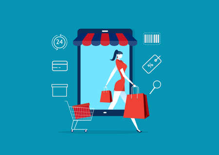 Women coming out of smartphone. lady in store and packages. buyer girl and shopping bag Ilustração