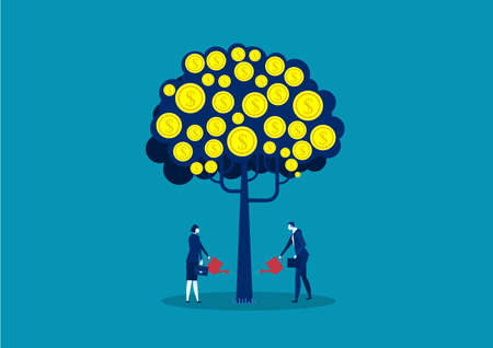 business watering money tree , investment finance, growth financial