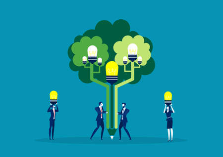 team business man plant idea at tree of idea for green world vector illustration design. Ilustração