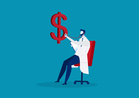 business doctor dollar health check with stethoscope. vector
