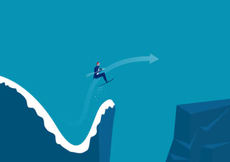 Businessman jumping from a springboard on skis into new moutain. Achieving success. Vector illustration