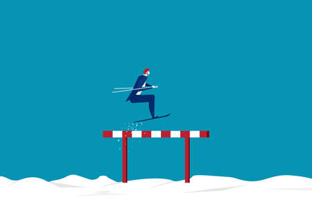 Businessman use sky jumping over hurdles or obstacles on snow background. Symbol of determination, aspiration, ambition, motivation and success