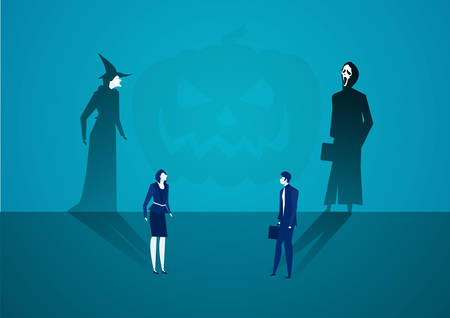 business man and woman casting shadow become witch with ghost concept vector.