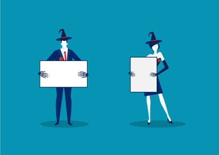 business holding banner flat illustration. Business with promotional empty placard for text mockup on halloween day. , marketers and blank advertising. Ilustrace