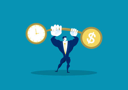 Businessman holding weights balance scales currency comparison dollar finance with time business concept vector