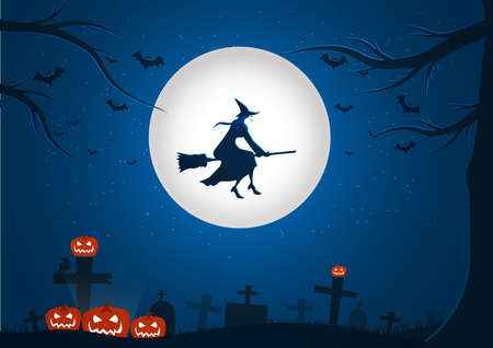 Obraz tła nocy Halloween z latającą wiedźmą i nietoperzami., Vector