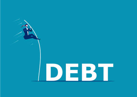Business man jump over the debt word illustration design Foto de archivo - 129307095