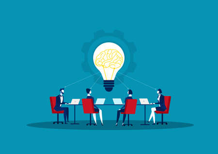 Business person exchanging solution and share idea. Concept business vector illustration. Vector Illustration