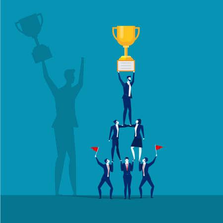 Équipe d'affaires réussie tenant le trophée. Concept de travail d'équipe, vecteur
