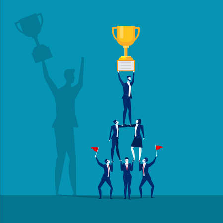 Erfolgreiches Geschäftsteam, das Trophäe hält Teamwork-Konzept, Vektor